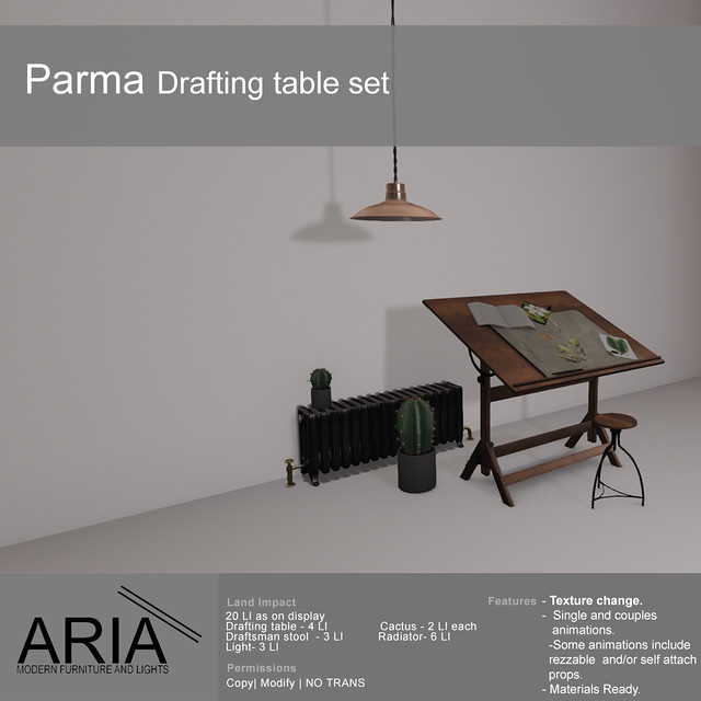 Parma drafting table set @ TMD