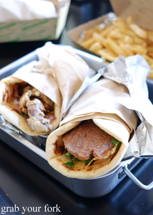 Soft shell crab gyro and pork belly baklava gyros at Kefi Souvlaki Bar, Kingsgrove