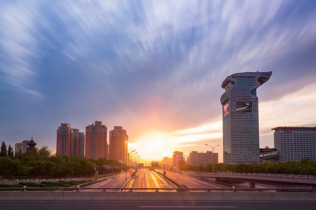beijing city sunset
