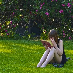 Girl lost in reading