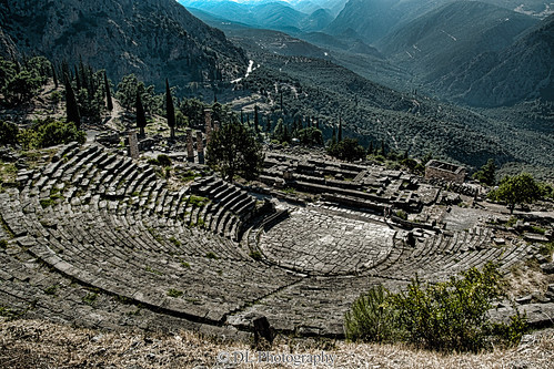 delphi hellas greece temple theatre hellenistic
