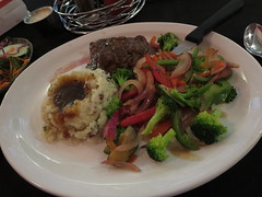 Top sirloin and steamed vegetables