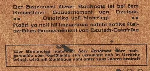 1916 German East Africa emergency note