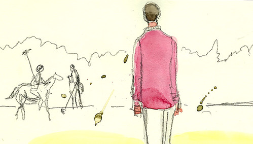 Man in pink jacket, Greenwich Polo Club, Greenwich, CT