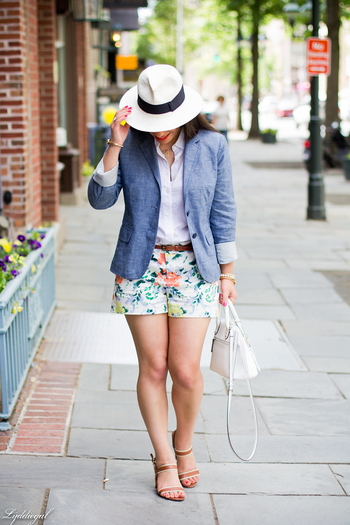 Floral shorts, chambray blazer, panama hat-2.jpg