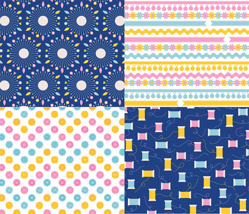 Sewing Notions co-ordinates fabric designs