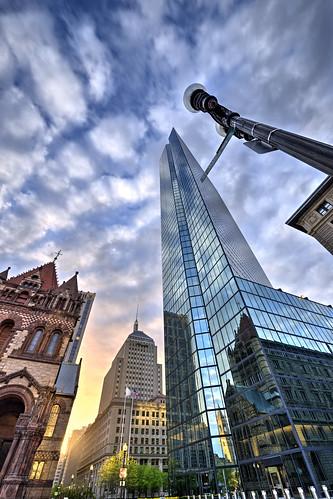 morning sky usa color colour building up boston skyline clouds skyscraper sunrise massachusetts tall hdr johnhancocktower nikond800