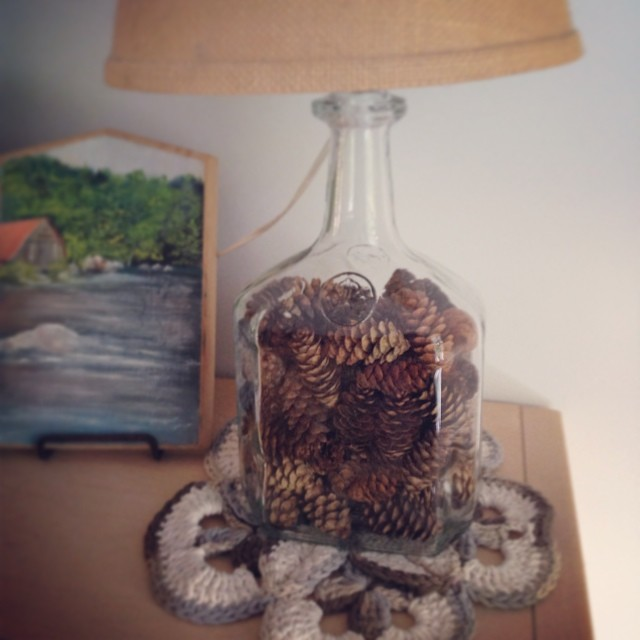 Stuffed an empty lamp full of small pine cones.