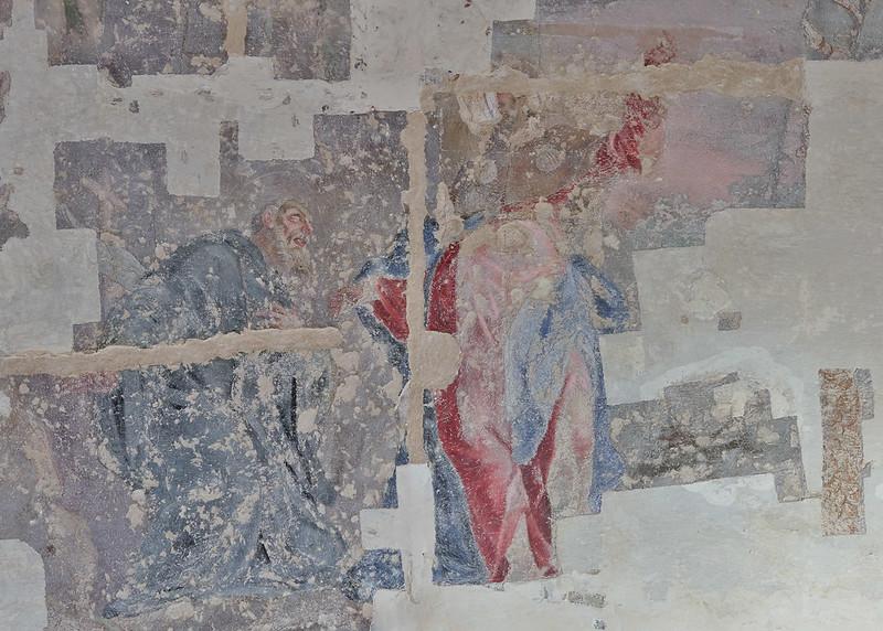 Odkrytá freska na klenbě v prostoru kavárny Morgal
