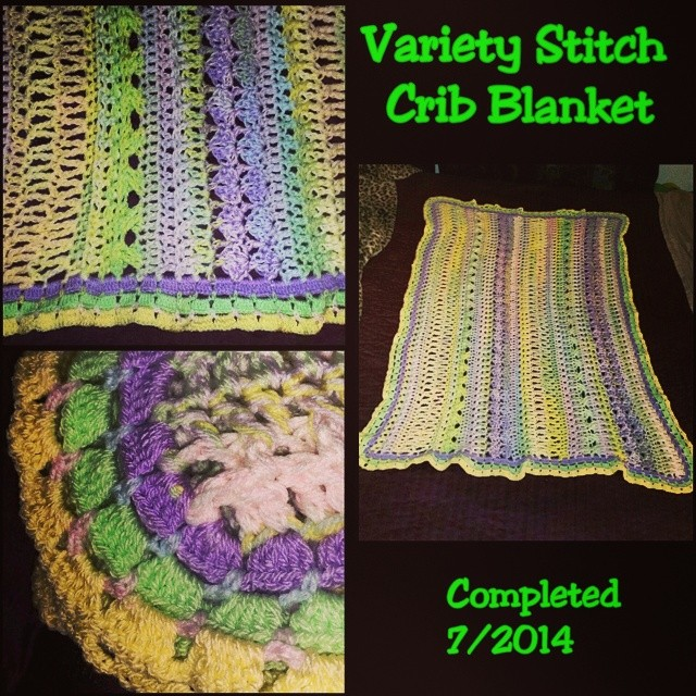 Variety stitch crochet crib blanket. My own design. Completed 7/2014. #phoenixrosedesign #crochet #blanket #afghan #crib #baby #genderneutral #babylove #babygift #gift #fortheboss #babyshower #newborn #pastels