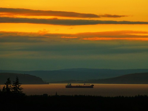 trees sunset sea sun mountains clouds scotland boat silhouettes hills tanker firth