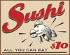 I love when retro ideas are mashed up with contemporary trends, and so I decided to make this retro style diner sign about ten-dollar all-you-can-eat sushi. The original that I worked from was a sign for five-cent bottomless coffee, and this was the…