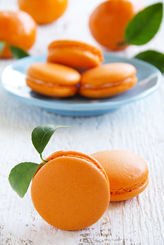 Makarons with orange cream.
