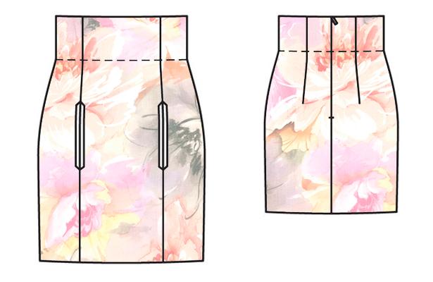 high waisted mini skirt mock up 2