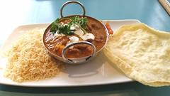 Lamb Curry, Rice, Poppadom and Chutney.
