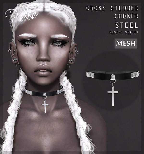 pekka cross studded choker steel