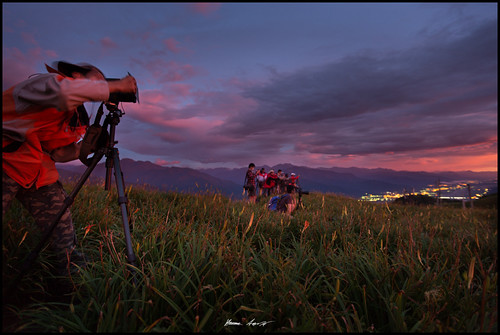 camera sky mountain man flower field sunrise person photographer tripod hualian goldenneedle 金针花 orangedailily