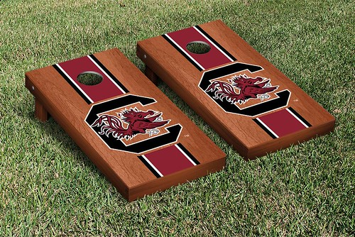 South Carolina Gamecocks Cornhole Game Set Stained Striped Version