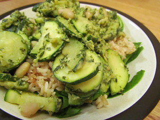Lemon Pesto Zucchini and White Beans