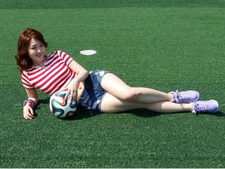 beautiful korea world cup girl with brazuca-f05087