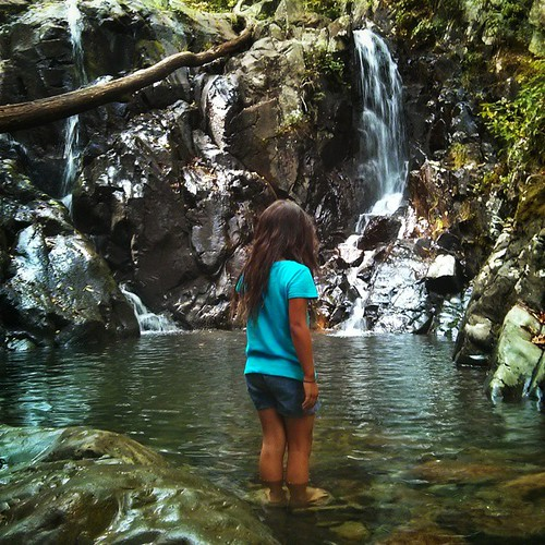 She could not commit to going for a swim in this waterfall in her clothes even though I can tell in her eyes that she really wanted to. #avatheoldest