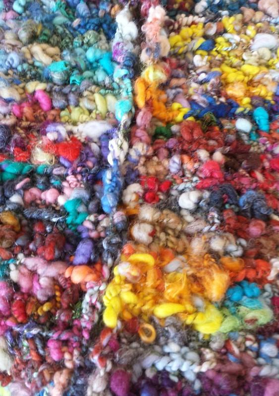 crocheted scarf in Paulines handspun