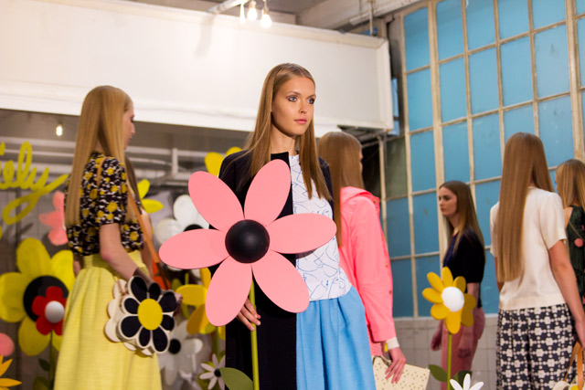 Orla Kiely SS15 models holding flowers