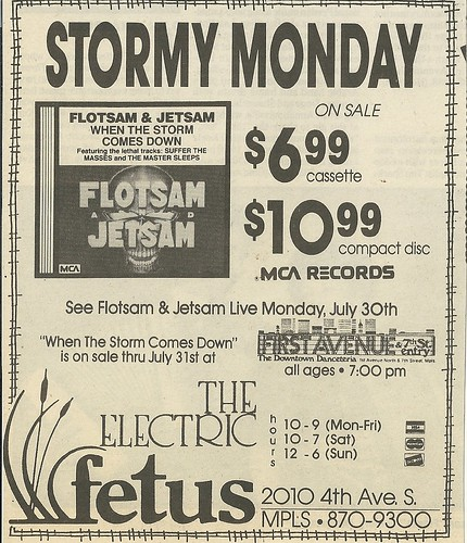 07/30/90 Flotsam & Jetsam @ First Avenue, Minneapolis, MN (Album Ad)