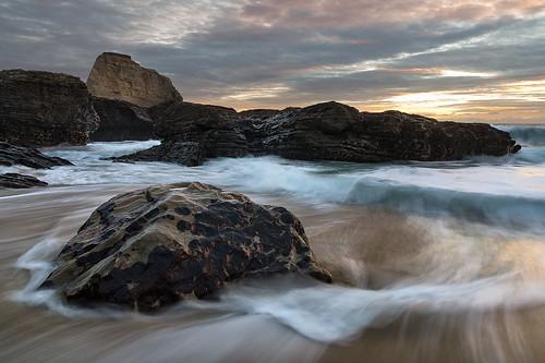 california sunset santacruz beach rocks surf waves tide davenport holeinthewall tamron1750 pentaxk5 shanevenem