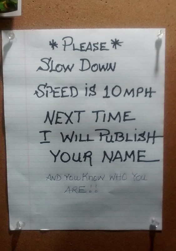 *PLEASE* SLOW DOWN SPEED IS 10 MPH NEXT TIME I WILL PUBLISH YOUR NAME AND YOU KNOW WHO YOU ARE!!