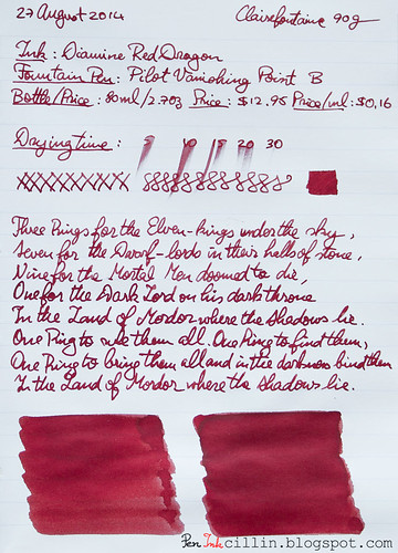 Diamine Red Dragon on Clairefontaine