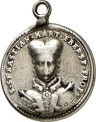 Ebersberg, Cloister Church of St. Sebastian. Cast silver pendant, gilded obverse