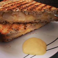 #lunch toasted edam and pickled onion sandwich with salad cream on the side