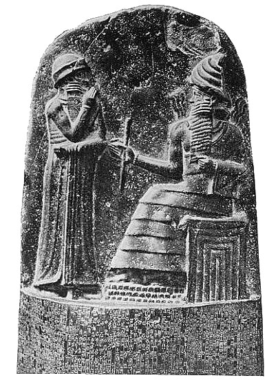 Figures at top of Code of Hammurabi on diorite stele of  at the Louvre