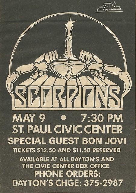 05/08/84 Scorpions/ Bon Jovi @ St. Paul Civic Center, St. Paul, MN (ad 2)