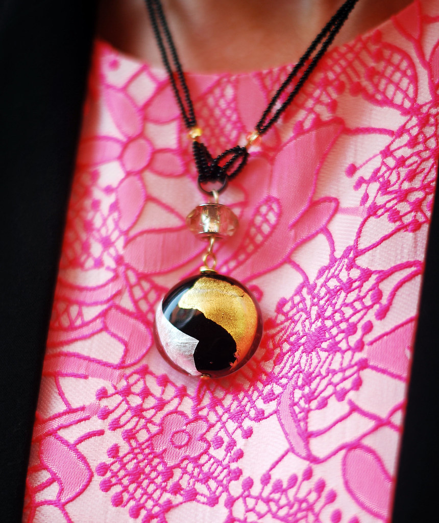 Neon pink and black with glass pendant