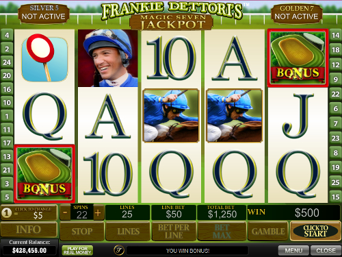 free Frankie Dettori's Magic Seven Jackpot bonus feature