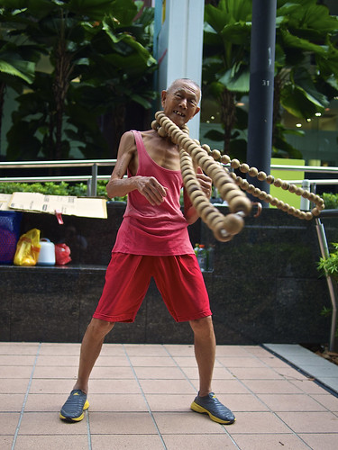 The wooden beads man