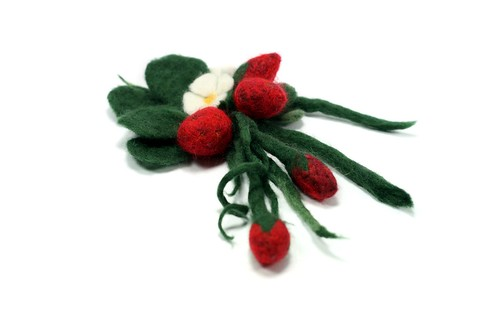 Strawberry Brooch Wool Felt Handmade Needle and Wet Felting