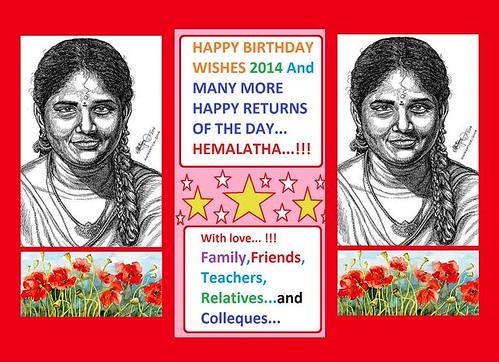 , HEMALATHA – HEMALATHA JAYACHANDRAN – HAPPY BIRTHDAY WISHES TO YOU HEMALATHA…!!! Many more Happy Returns of the Day – Family,Friends,Relatives and Colleagues – Portrait Artwork – Artist Anikartick,Chennai,Tamil Nadu,India, My cartoon Blog, My cartoon Blog