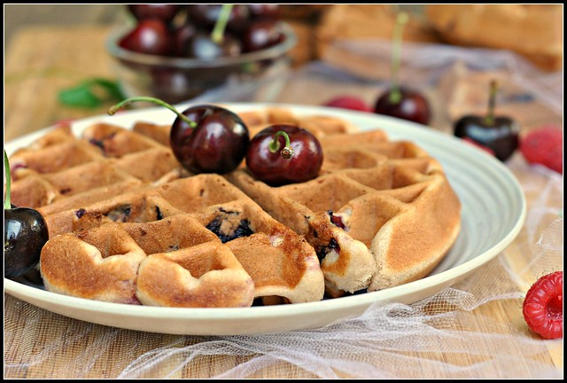Cherry Almond Muffin Waffles 4