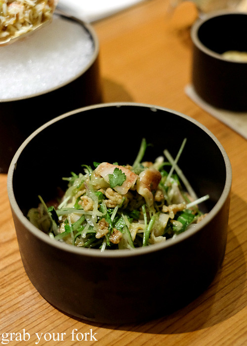 Geoduck with spring onion, ginger and crispy rice at Ronin, Hong Kong