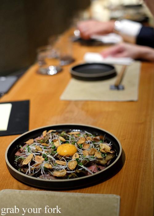 Kagoshima beef with maitake and egg yolk at Ronin, Hong Kong