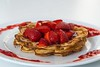 Sour Cream Waffles with Fresh Strawberry Syrup