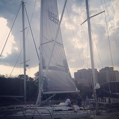 Imp\'s got her racing sails on. She\'s racing to Michigan City and back tonight! #lakemichigan #belmontharbor #michigancity