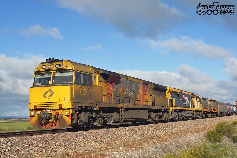 6027 & 6003 with a westbound 2MP1 out of Snowtown by Corey Gibson