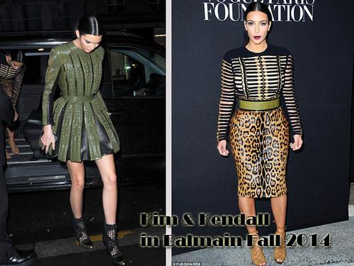 Kim Kardashian & Kendall Jenner in Balmain Fall 2014 outfits: military style