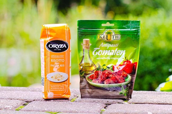 Inhalt Degustabox Juli,Oryza Risotto, Paella Reis, Kluth Antipasti Tomaten