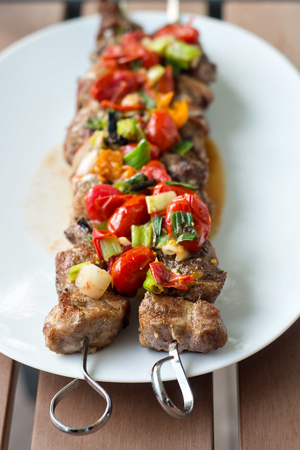 Grilled Pork Skewers with Grilled Tomato Relish