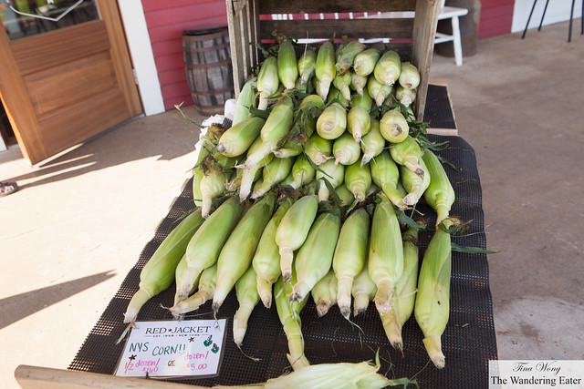 Fresh corn at the front of Red Jacket Farmstore